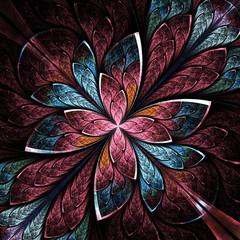 Symmetrical flower pattern in stained-glass window style. Blue a