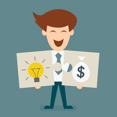 businessman holding two jigsaw pieces concept of light bulb and