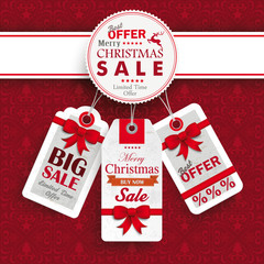 White Emblem Christmas Price Stickers Ornaments