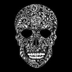 Human skull in floral shape