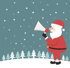 Santa Claus shouting in a megaphone