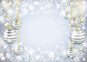 Snowflake Winter Background Silver Baubles