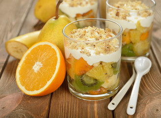 Fruit salad with whipped cream