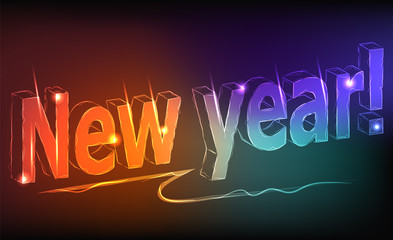 New year - a neon inscription