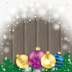4 Colored Baubles Fir Branches Wooden Board Grunddatei
