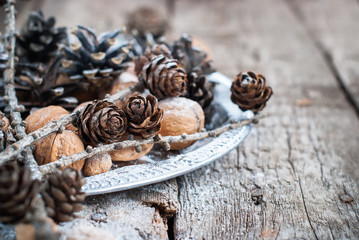 Christmas Natural Deciration on Tray with Small Pine cones