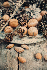 Christmas Tray with Pine cones, Walnuts, Almond. toning