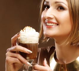 girl with glass of coffee witn cream