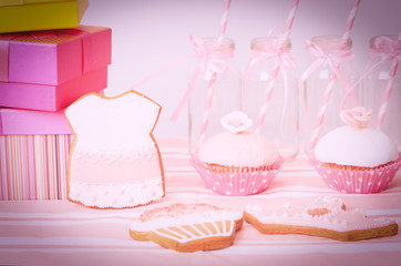 dessert table in pink at girls party