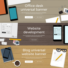 Set of website banners - office workplaces