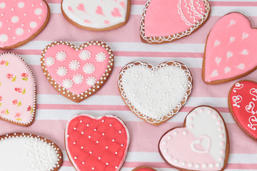 heart cookies on pink