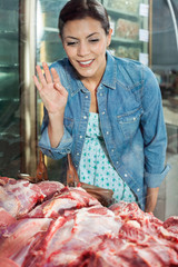 Woman Buying Meat In Butchery