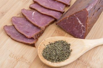 triangular beef salami