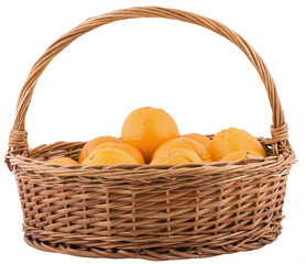 basket with oranges isolated