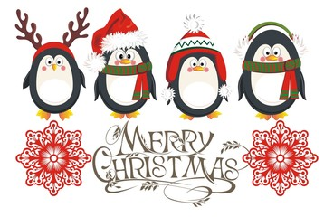 Christmas background with penguins and snowflakes