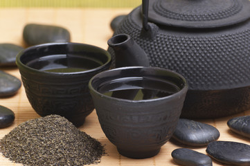japanese traditional tea and teapot