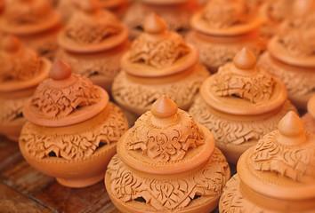 Traditional Thai clay pottery at Nonthaburi,Thailand.
