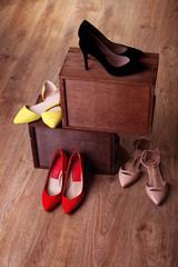 Women shoes on floor in room