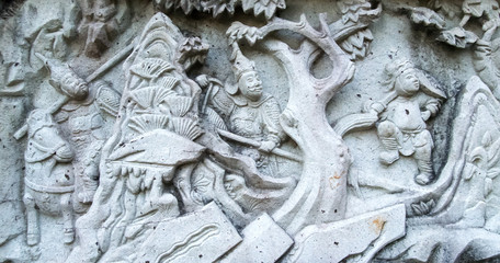 Chinese stucco art on a wall
