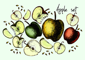 Set of drawing apples