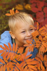 funny baby in autumn forest