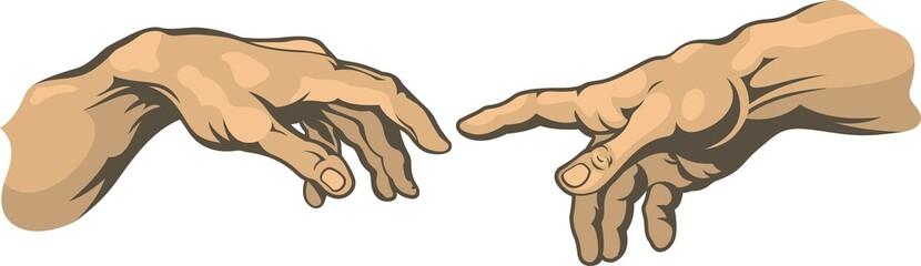 Hand to hand . Creation of Adam Michelangelo