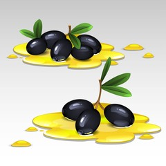 Black olives in the oil