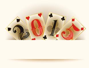 Happy new 2015 year casino poker cards, vector