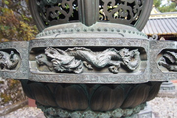 Dragon relief detail in Japanese sculpture