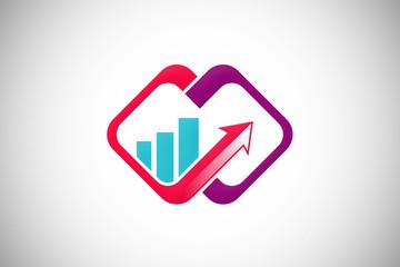 arrow finance connect graph design logo