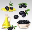 Black olives set