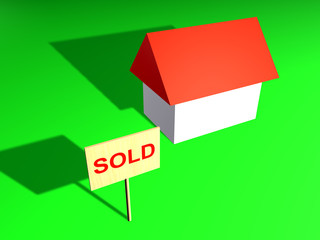 House and sign sold - 3d model