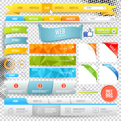 Vector Web Elements. Buttons, geometric banner backgrounds