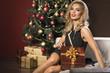 Beauty elegant woman with christmas present box