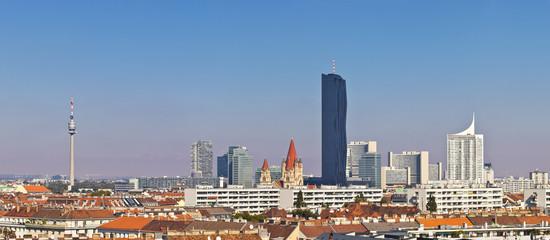 Skyline of the Danube City of Vienna