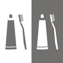 Icono cepillo y pasta de dientes BN