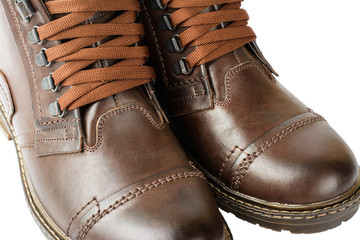 Winter boots, men's, brown, with laces and thick soles