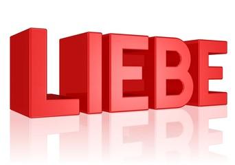 Liebe - Text in großen roten Buchstaben