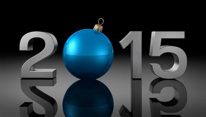 2015 mit blauer Kugel auf Grau
