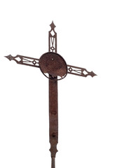 Old rusted cross, crucifix, isolated on white.