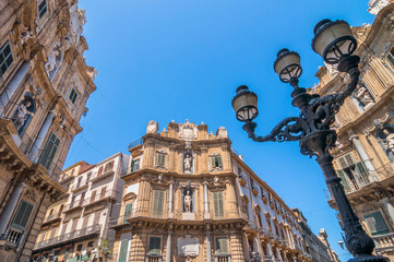 Piazza Pretoria buildings in Palermo, Italy