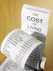 The financial cost of living on a paper printout