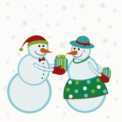 Snowmen give gifts