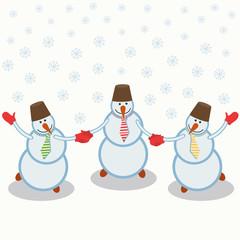 three cheerful snowmen