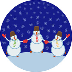 three cheerful snowmen