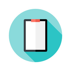 Clipboard with Paper Flat Circle Icon