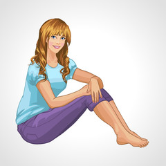 Blondy girl sitting on the floor from the side