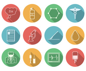 Colored icons for anesthesiology