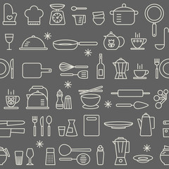 Seamless background pattern Cooking Kitchen utensil icons set