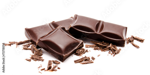 Spoed canvasdoek 2cm dik Snoepjes Dark chocolate bars stack with crumbs isolated on a white